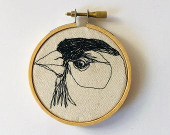 American Goldfinch  Freehand Machine Stitched Portrait, 3 inch,