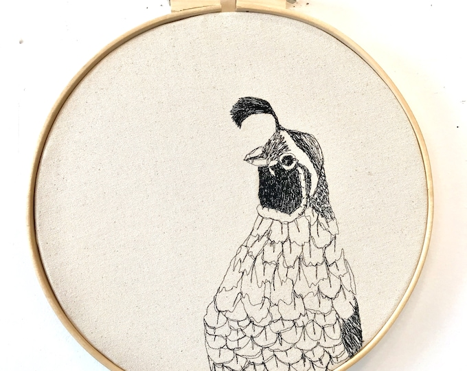 Featured listing image: California Quail Freehand Machine Embroidered Portrait, hoop art, wall hanging, thread drawing