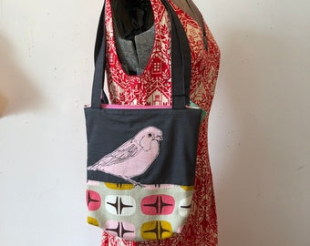 Freehand Machine Stitched Bunting tote bag, Upcycled curtain, organic cotton barkcloth, lined with pockets, zipper topped