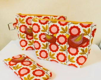 Organic Cotton Baby Wale corduroy gusset zipper pouch in Blooming Vines