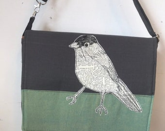 California Gnatcatcher, freehand machine stitched drawn,messenger bag, adjustable strap