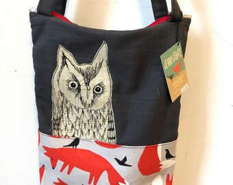 Freehand Machine Stitched Northern Screech Owl  Zipper top tote bag
