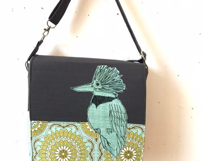 Featured listing image: Belted Kingfisher freehand machine stitched drawn messenger bag, adjustable strap, freehand machine stitched bird, with free accessory