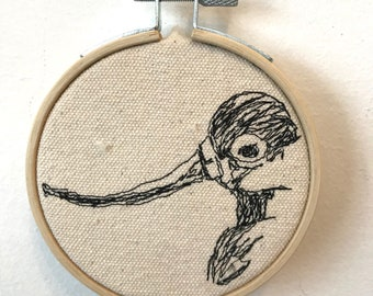 American Avocet Freehand Machine Stitched Portrait