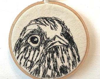 Black Swift Freehand Machine Stitched Portrait