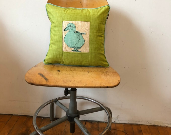 Featured listing image: Wood duck Freehand Machine Stitch Pillow, wood grain, decor pillow