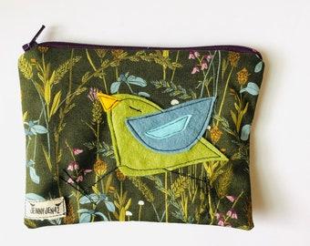 Birdy Felt Applique zipper pouch, organic cotton, lined, gift idea