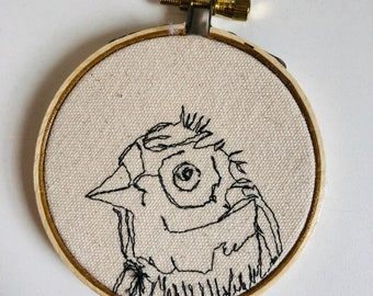 Golden Wyandot Freehand Machine Stitched Portrait, 3 inch, chicken