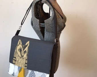 Long Eared Owl  stitched drawn messenger bag with free accessory