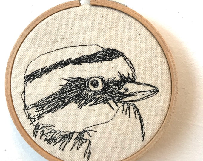Featured listing image: Great Kiskadee Freehand Machine Stitched Portrait