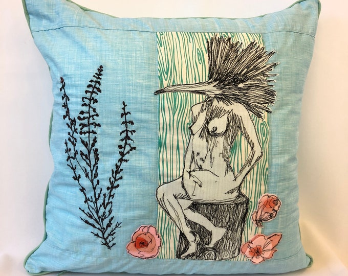 Featured listing image: Ms.Queen Fisher in her Garden, decor pillow
