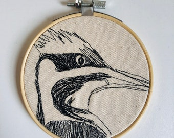 Pileated Woodpecker Freehand Machine Stitched Portrait, 4 inch