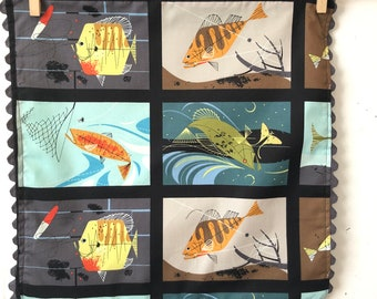 Rick Rack, Organic Cotton, Cloth Napkins, Charley Harper, Lake House series, Fish panel