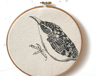 Brown Creeper Freehand Machine Embroidered Portrait