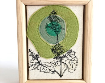 Freehand Machine stitched Catnip plant