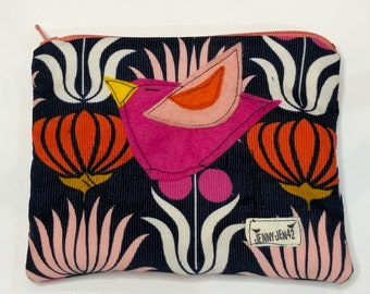Organic Baby Wale Corduroy Padded Zipper Pouch in Native Flowers