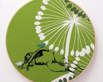 Freehand Machine Stitched Reclining FIgure with Felt Applique Birdy birds