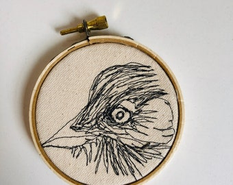 American Crow Freehand Machine Stitched Portrait, 3 inch,