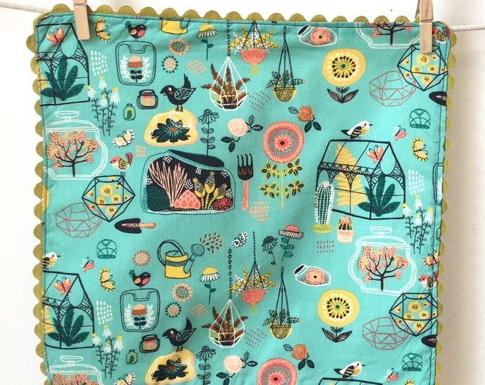 Featured listing image: Organic Cotton Rick rack  Cloth Napkins, blue , plants and birds, garden theme, tableware, designer