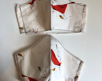 Face Masks with filter pocket, reusable, washable, two layers, elastic around head, quilters cotton, Charley Harper, cardinals