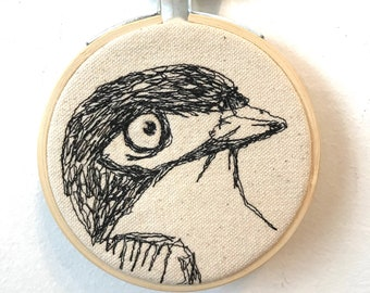 Black-capped Vireo Freehand Machine Stitched Portrait