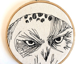 Snowy OwlOwl Freehand Machine Embroidered Portrait, 5 inch