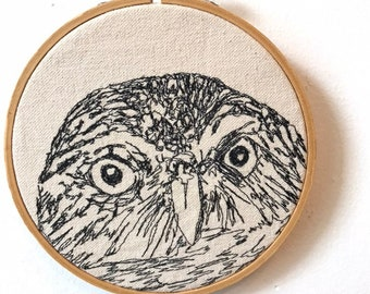 Ferruginous Pygmy- Owl Freehand Machine Embroidered Portrait, 5 inch