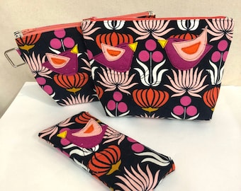 Organic Cotton Baby Wale corduroy gusset zipper pouch in Native Flowers