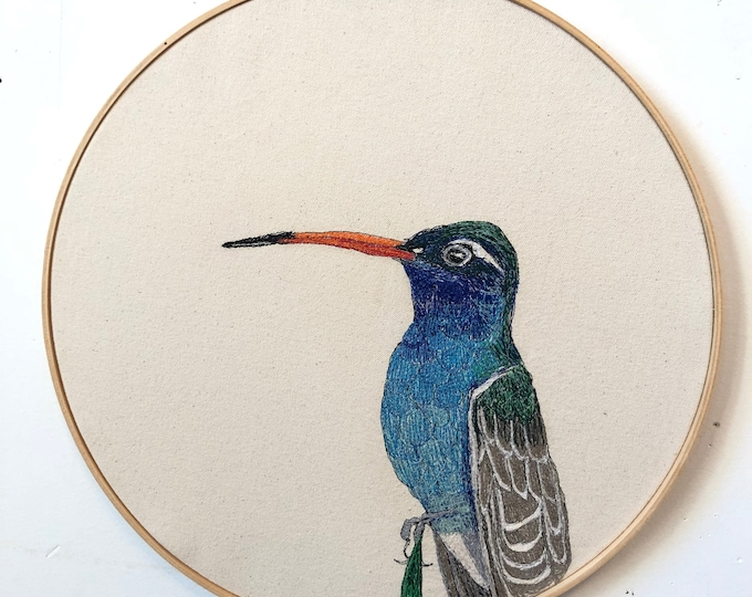 Featured listing image: Broad-Billed Hummingbird Freehand Machine Embroidered Portrait