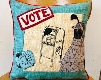 California Quail saids GO VOTE Postal Pillow
