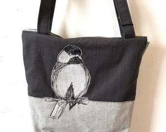 Freehand Machine Stitched Chickadee Zipper top tote bag