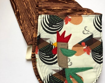 Swan Double Oven Mitts, oven mitt, oven glove, ,organic cotton,Rooster, Charley Harper