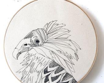 Turkey Vulture Freehand Machine Embroidered Portrait, 12 Inch