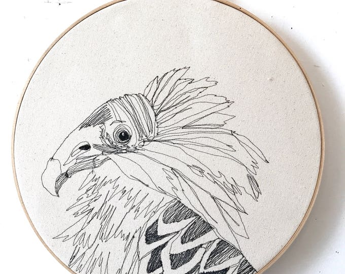 Featured listing image: Turkey Vulture Freehand Machine Embroidered Portrait, 12 Inch