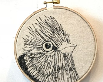 Red-Crested Cardinal  Freehand Machine Stitched Portrait