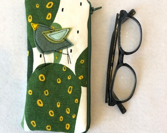 Organic Cotton canvas Padded Zipper Fabric Eyeglass Case, flannel lined eyeglass case, cactus