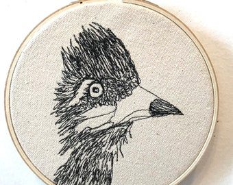 Greater Roadrunner Freehand Machine Stitched Portrait