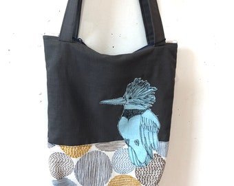 Freehand Machine Stitched Dark Belted Kingfisher tote bag