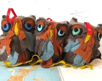 Owl Ornament, plushie, free flow stitch details, handmade, felt