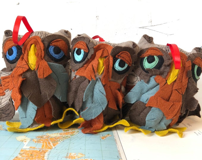 Featured listing image: Owl Ornament, plushie, free flow stitch details, handmade, felt