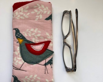 Cotton Padded Fabric Eyeglass Case, felt appliqué, zipper, felt lined, eyeglass case