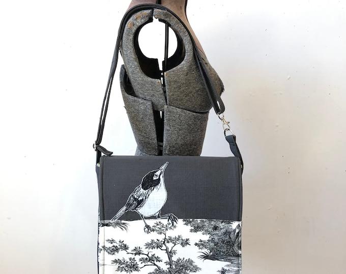 Featured listing image: Dark Eyed Vireo stitched drawn messenger bag, adjustable strap, freehand machine stitched bird
