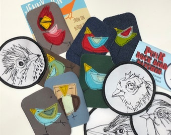 Iron patches and Sew on Bird  patch set
