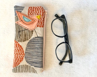 Organic Cotton canvas Padded Zipper Fabric Eyeglass Case, flannel lined eyeglass case