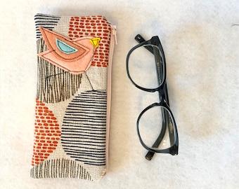 Organic Cotton canvas Padded Zipper Fabric Eyeglass Case, flannel lined eyeglass case