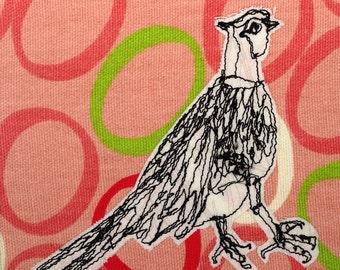 Ringed Neck Pheasant Freehand Machine Stitched Framed Art
