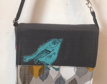 Cerulean warbler, freehand machine stitched drawn small messenger bag, adjustable strap, freehand machine stitched bird, with free accessory