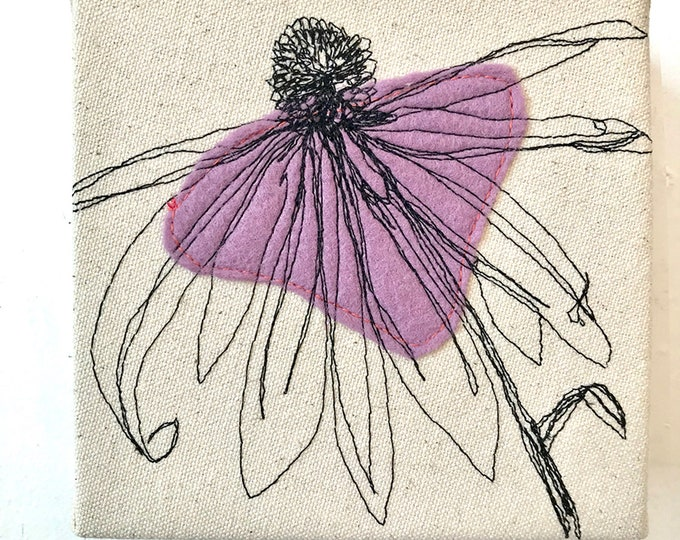 Featured listing image: Freehand Machine stitched Echinacea