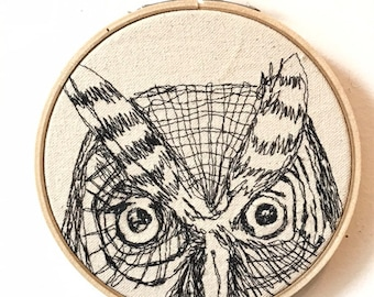 Western Screech Owl Freehand Machine Embroidered Portrait, 5 inch