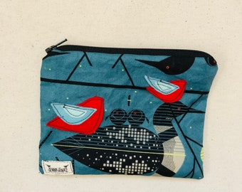 Birdy Felt Applique zipper pouch, organic cotton, lined, gift idea, Loons , Charley Harper